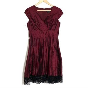 Adrianna Papell Red Silk Blend Dress w/ Black Lace